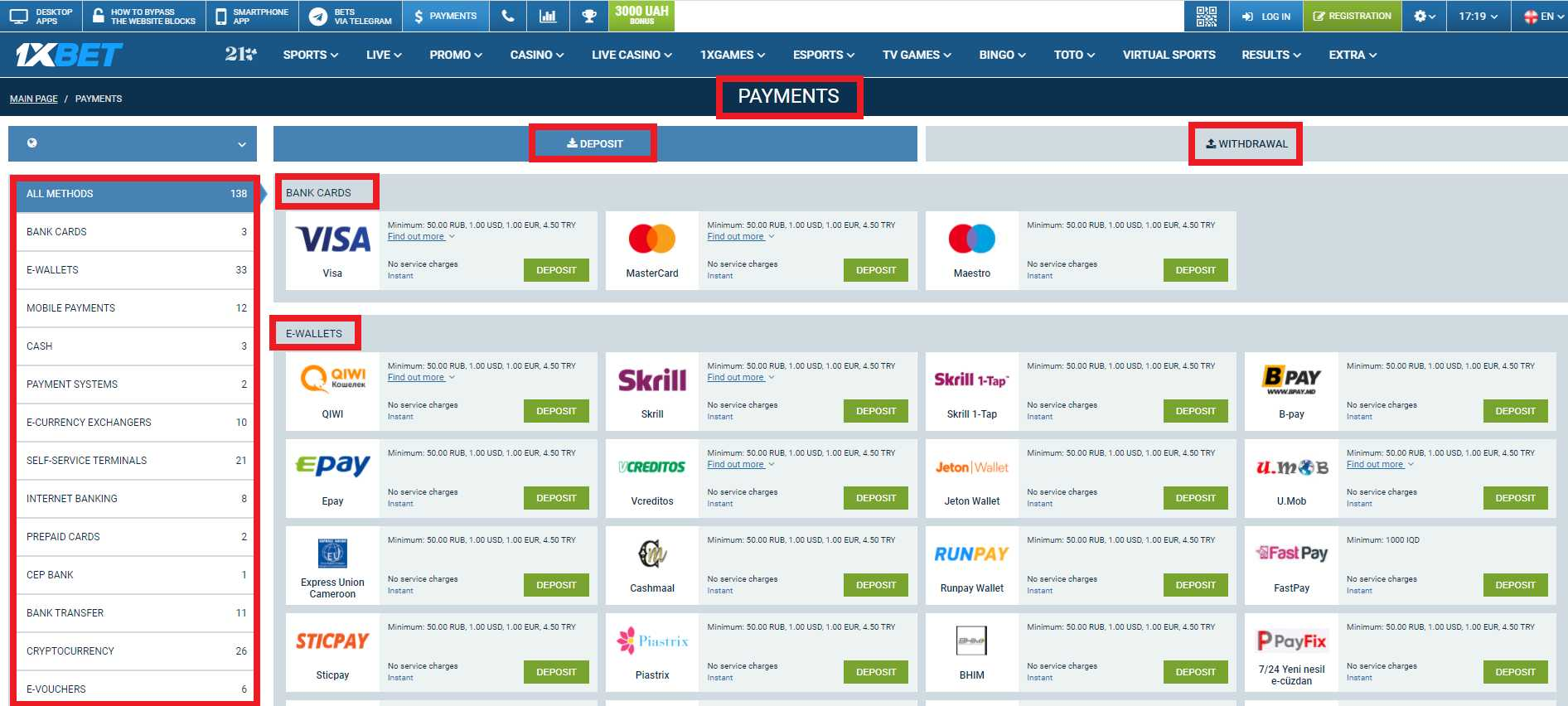 Convenient 1xBet Payment Methods